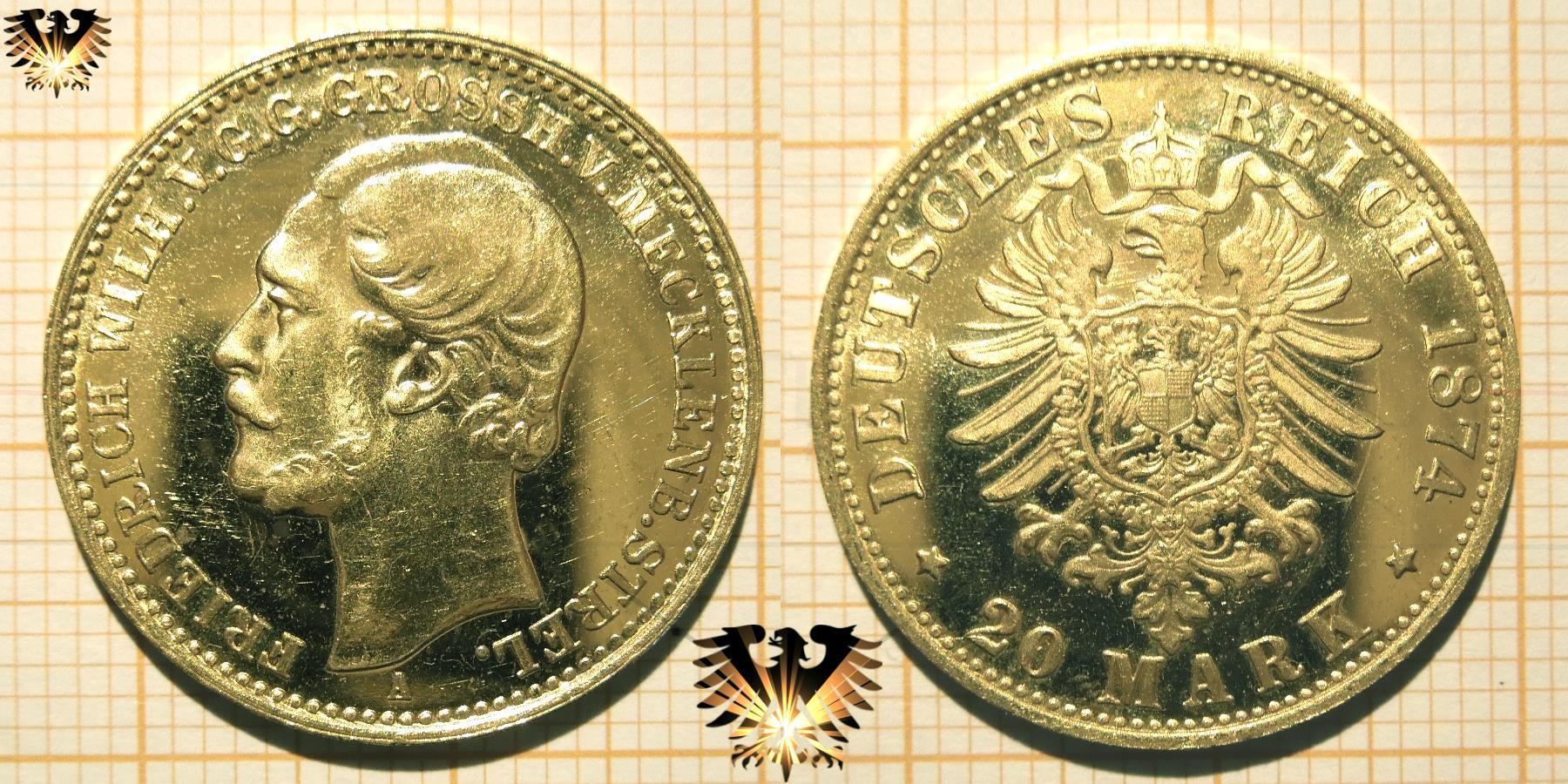 Fälschung einer Reichsmark Goldmünze; Mecklenburg- Sterlitz, 20 Mark 1874 A.