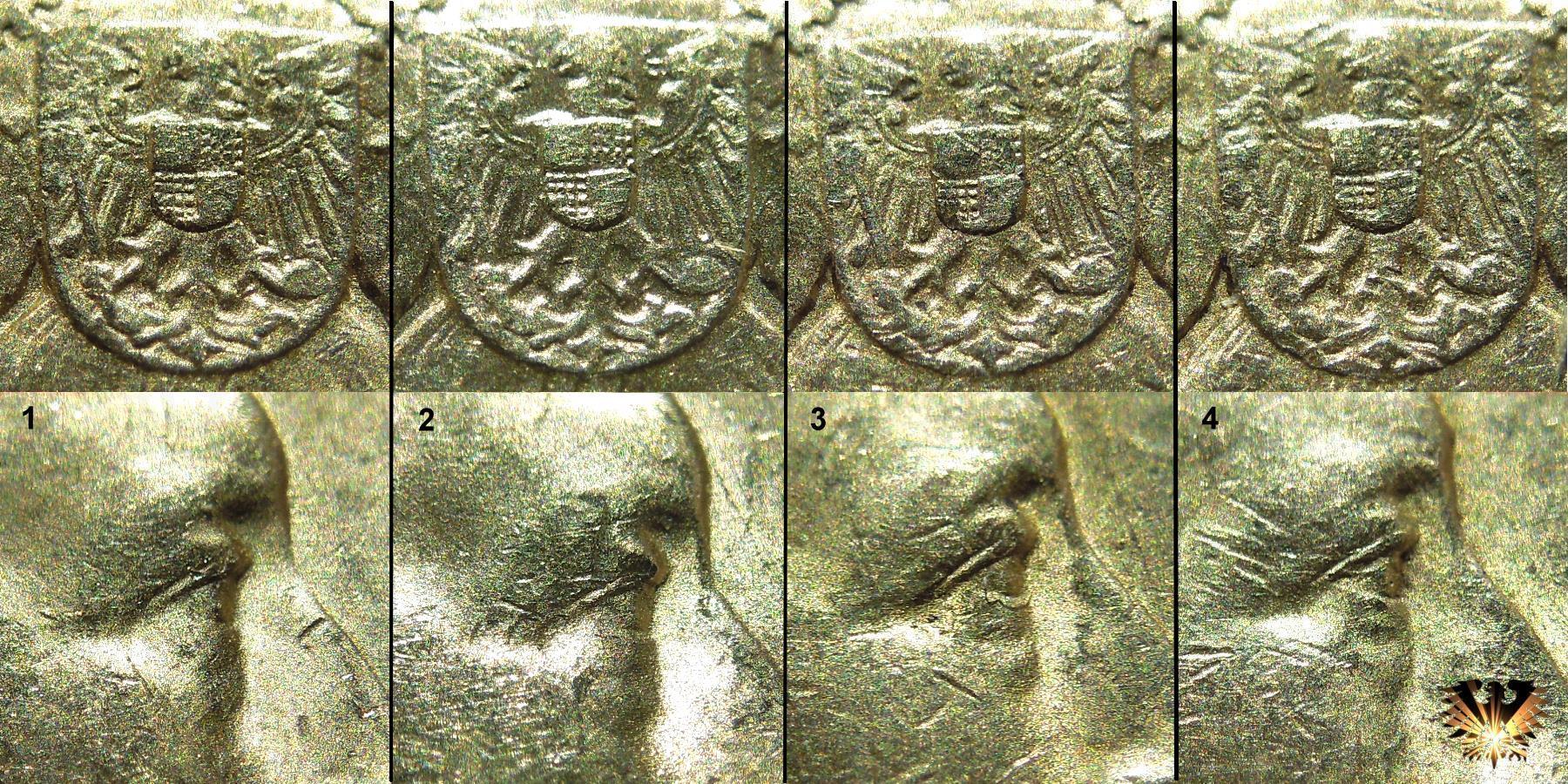 Details der Augen und Wappen, 20 Goldmark Kaiserreich Goldmark aus Preussen, zur Erkennung der Echtheit von Reichsgoldmünzen..