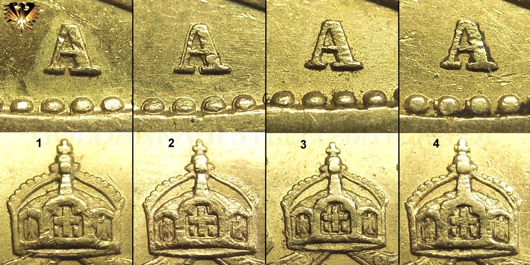 Detailaufnahmen von Randperle, Prägebuchstabe und Krone von Kaiserreich Goldmünzen zur Ermittlung der Echtheit.