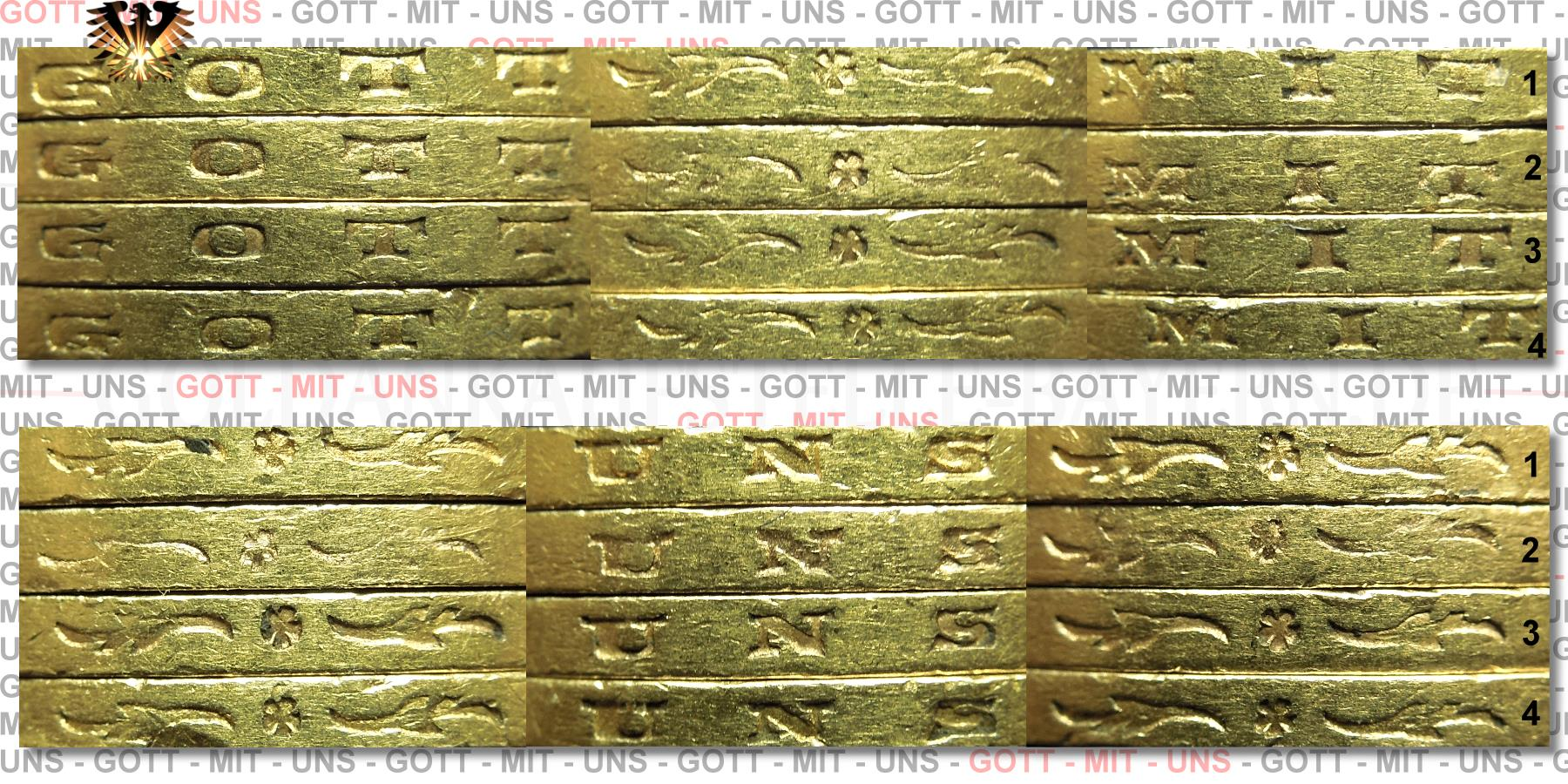 Vergleichsansicht der Randschrift von 20 Goldmark Kaiserreich Münzen aus Preussen, zur Erkennung der Echtheit.