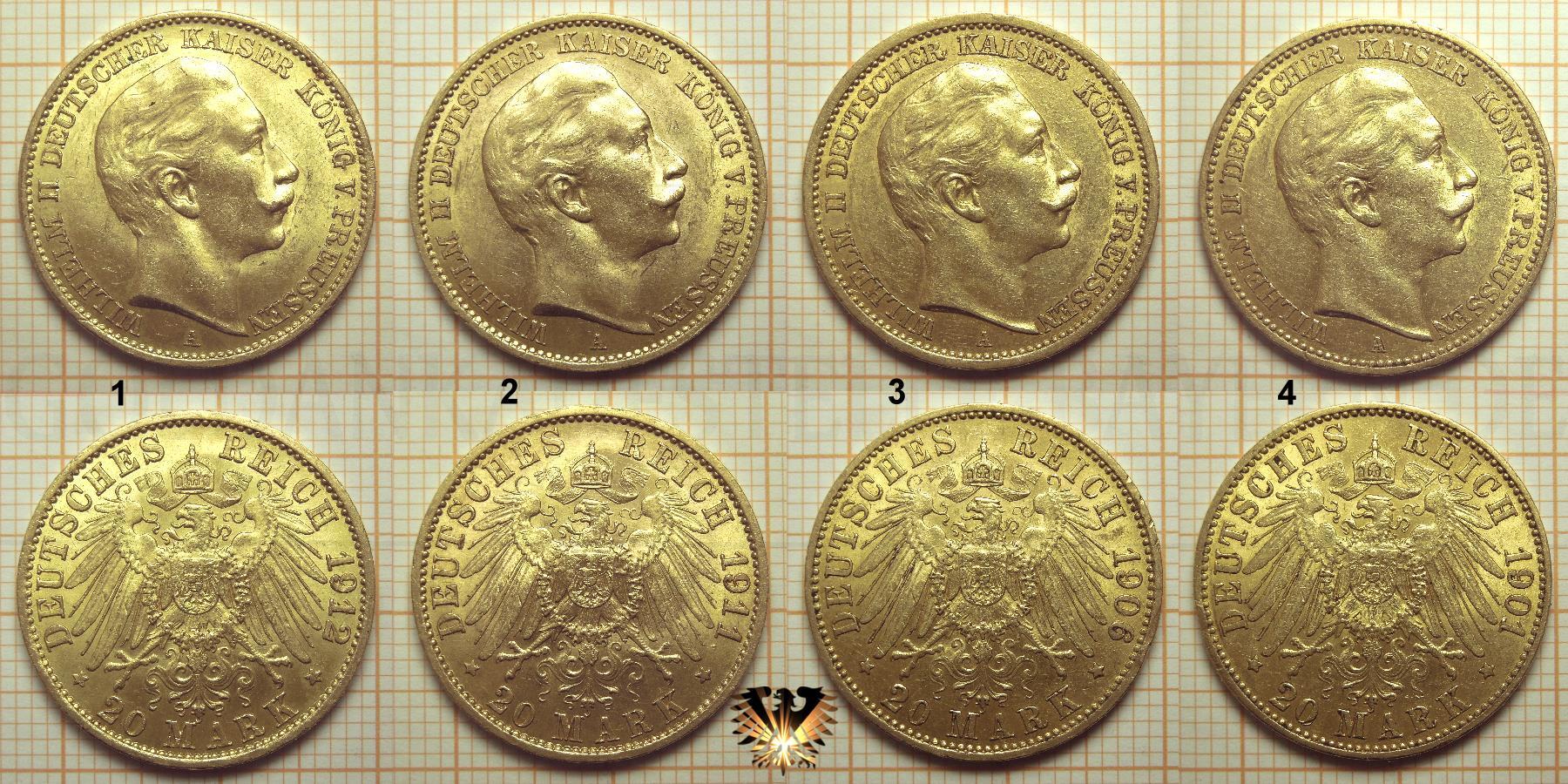 Vorder- und Rückseite von Kaiserreich Goldmünzen zur Ermittlung der Echtheit.