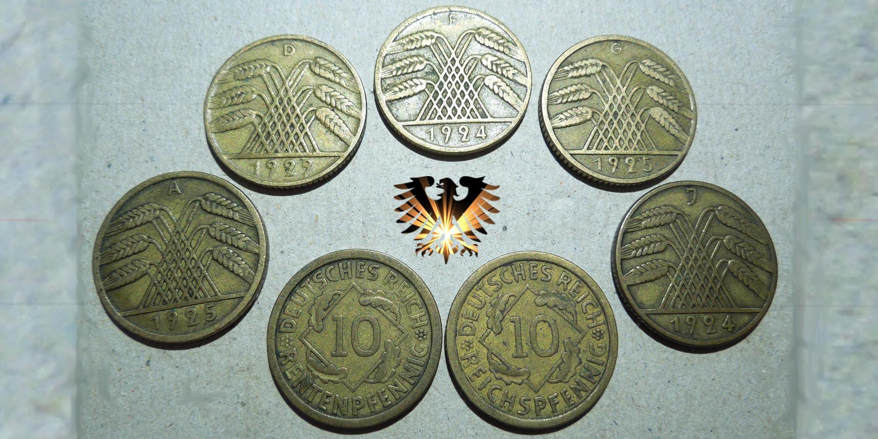 10 Rentenpfennig Deutsches Reich 1924 Mit Fehlprägung