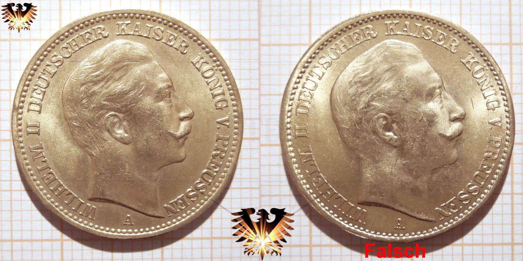 Fälschung einer Reichsmark Goldmünze; Preussen 20 Mark Bildansicht im Vergleich