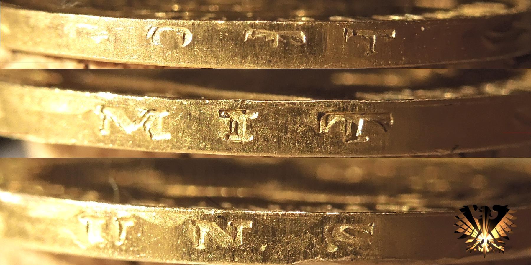 Ansicht der Randinschrift der Fälschung;  20 Reichsmark Goldmünze Bayern 1887 D, König Ludwig II.