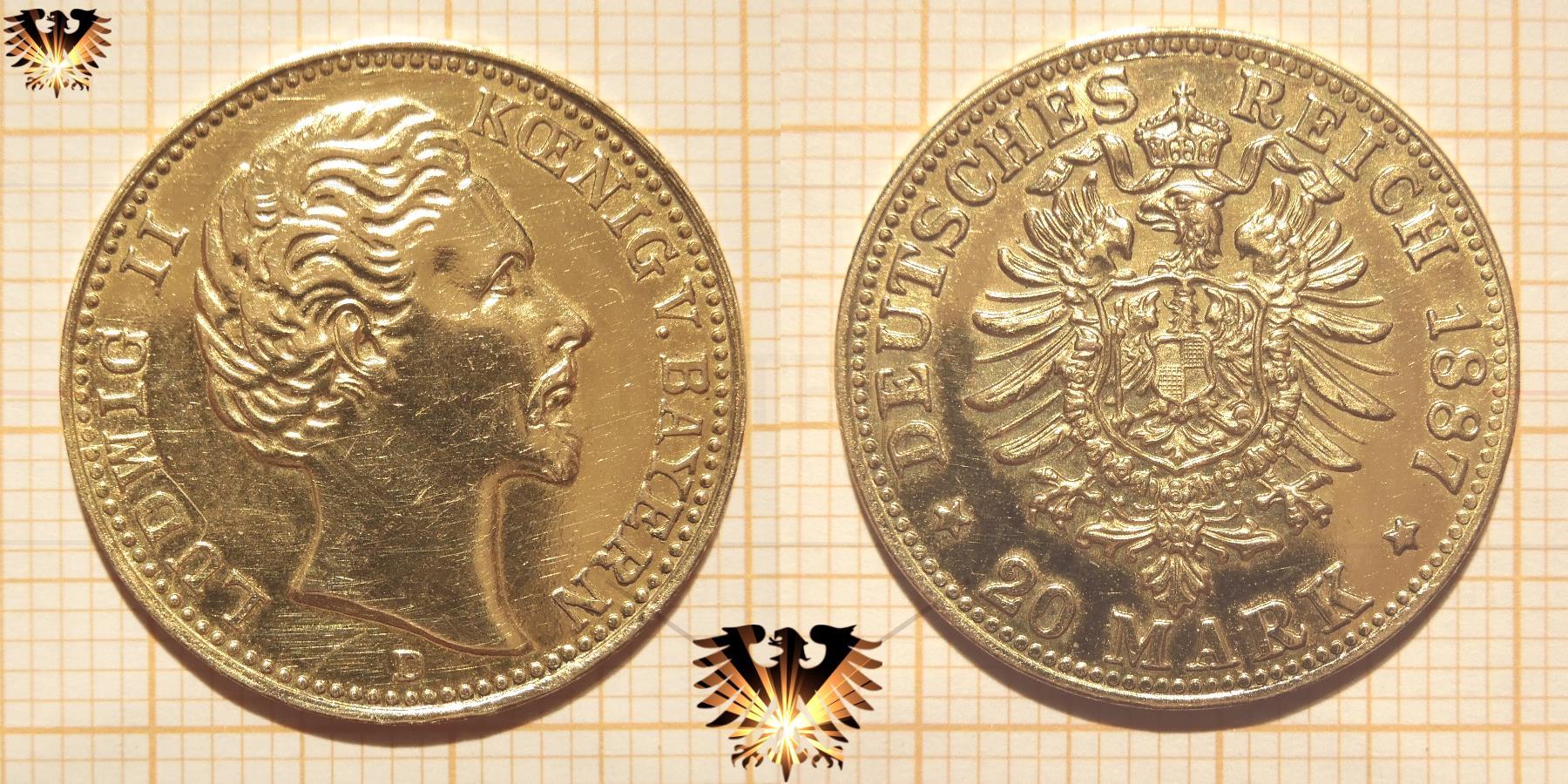 Fälschung einer Reichsmark Goldmünze; Bayern 20 Mark 1887 D, König Ludwig II, Deutsches Reich