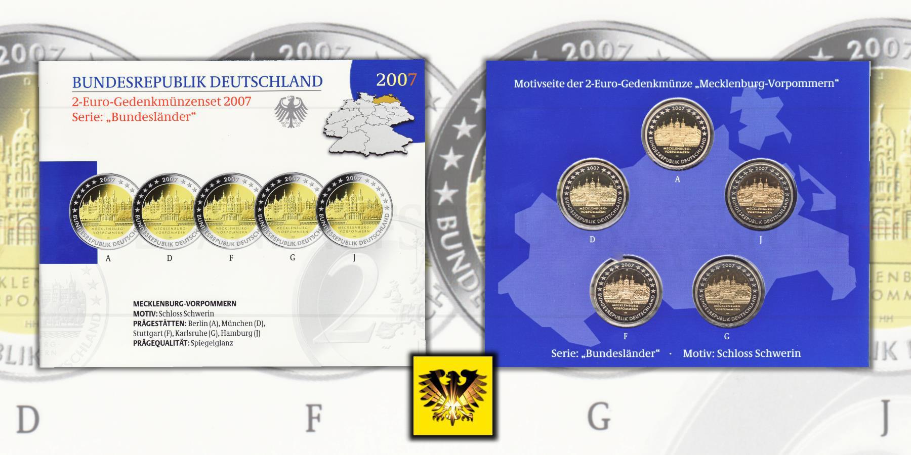 2 Brd 2007 A D F G J Gedenkmünze Mecklenburg Vorpommern