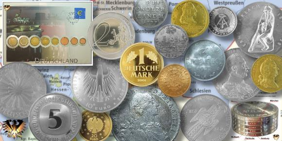 Detscher bebildeter Münzkatalog im Münzengerl`s Archiv für BRD Münzen. Vom Altertum über die D-Mark bis zum Euro Geld.