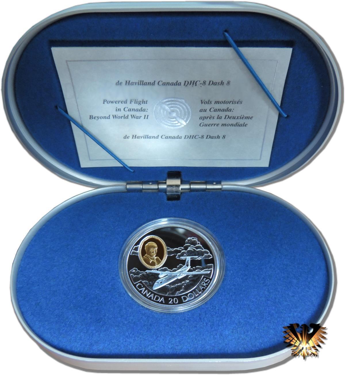 20 Dollars Canada 1999 Flugzeug Dhc 8 Silbermünze Vergoldung