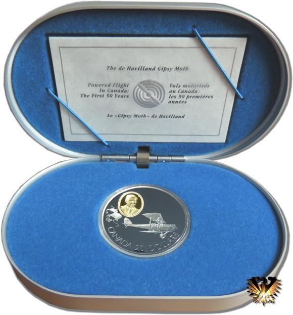 Silbermünze Kanada, 20 $ von 1992 in original Box (Alu mit blauem Formschaumstoff) mit Zertifikat. Pilot: Martin A. Seymour. Flugzeug: The de Havilland Gipsy Moth.