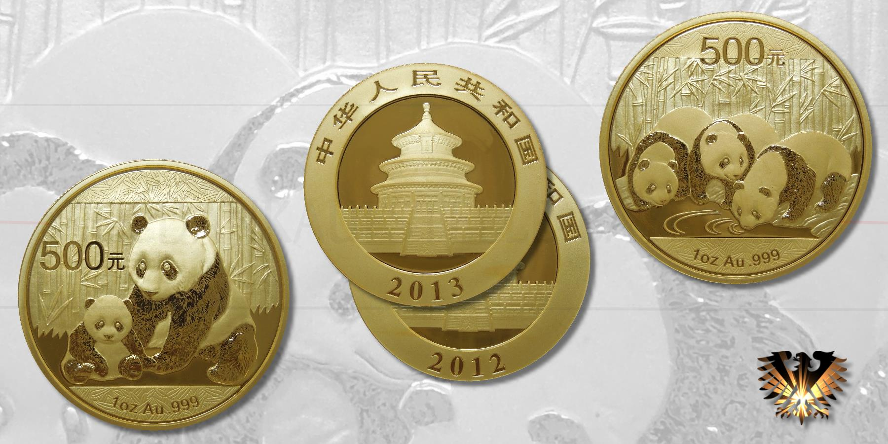 Vorder und Rückseiten der chinesischen Gold Panda Münzen von 2012 (Panda mit Jungtier) und 2013 (3 junge Pandabären) im Vergleich. Jeweils 1 Unze Feingold , Wert 500 Yuan!!