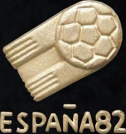 Espana82 Logo der 12. FIFA Fußballweltmeisterschaft 1982 in Spanien. Fußball in Form eines Kometen mit nach sich ziehendem Schweif.