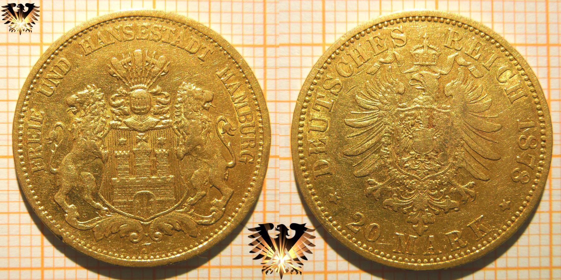 Fälschung einer Reichsmark Goldmünze; Hansestadt Hamburg, 20 Mark 1887.