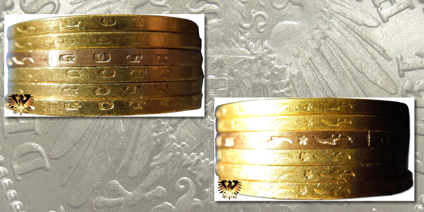 Ansicht von Randinschriften zu Fälschungen von  20 Mark Goldmünzen aus dem Deutschen Kaiserreich