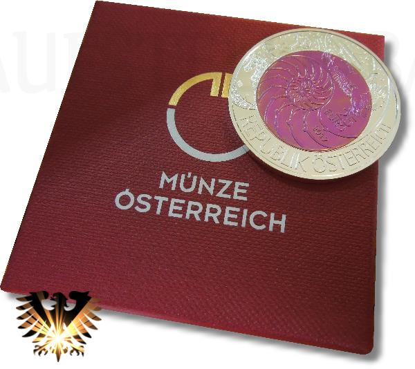Niob/Silber Bimelallmünze Österreich, 2012, zu 25 Euro mit Original Box und Zertifikat. Münze mit Niobkern pinkfarben.