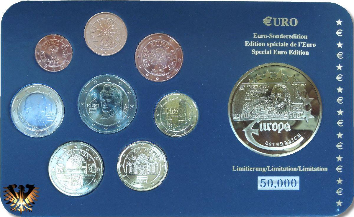 2 Euro österreich 2002 Nominal Und Euro Sondersatz