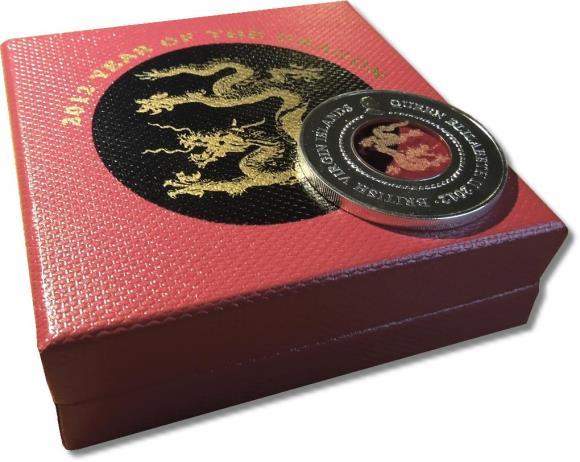 Umverpackung zur Motivmünze aus British Virgin Islans von 2012. Oben steht: 2012 YEAR OF THE DRAGON.