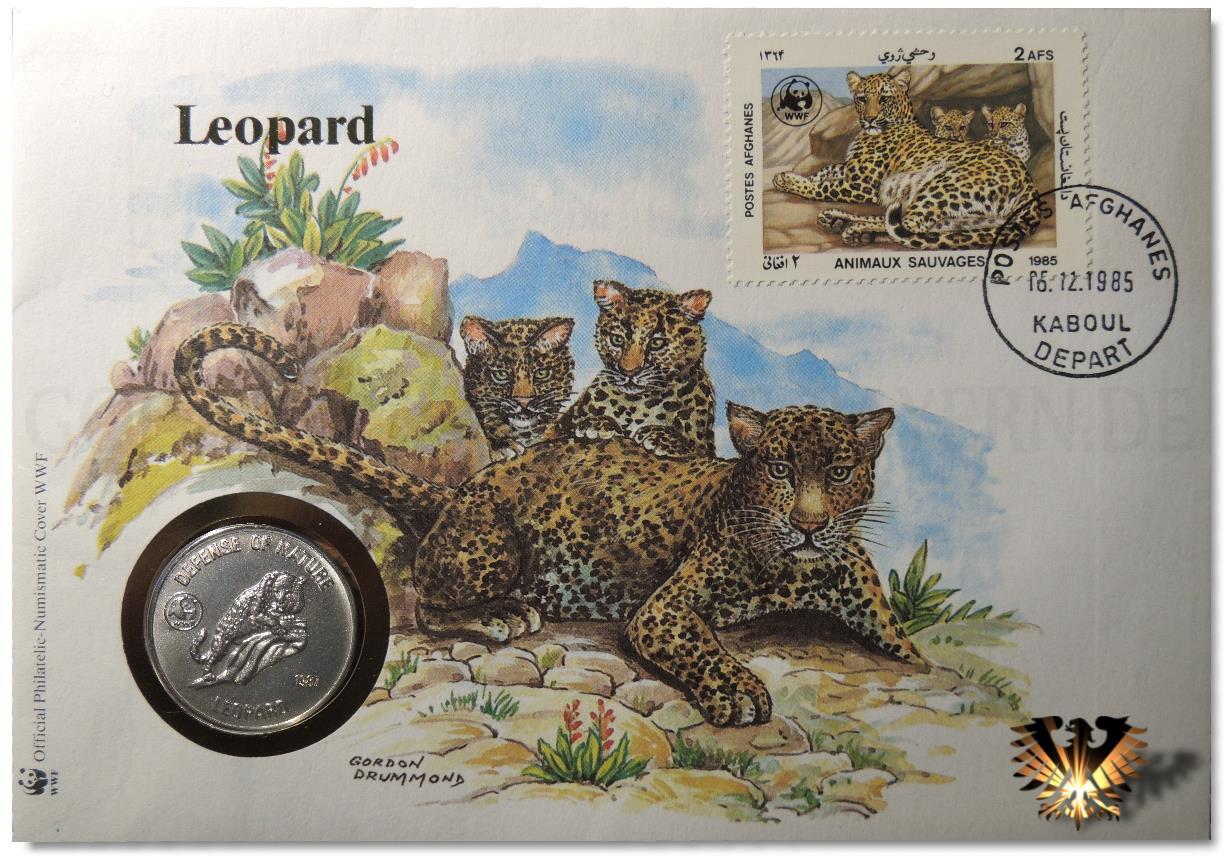 Leoparden Familie auf Numisbrief, mit Tiermünze aus Afghanistan. Geprägt wurde die Münze 1987. Der Gepard ist auch auf der Gedenkmünze und auf der Briefmarke wiederzufinden.