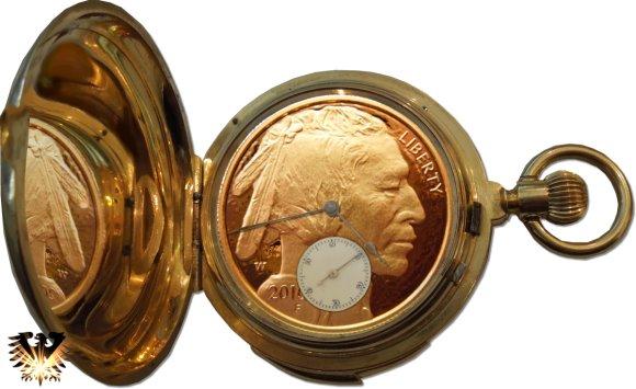 Goldene Taschenuhr mit Zifferblatt American Indianhead Goldbuffalo Münze W 2010
