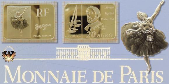 20 Euro, Frankreich, Goldbarren, 2007, RF Monnaie de Paris, Edgar Degas, Barrenmünze © goldankaufstelle-bayern.de