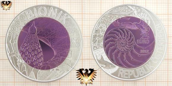 25 Euro, Silber Niob Münze, Österreich, 2012, Motiv: Bionik   © goldankaufstelle-bayern.de