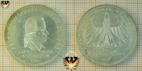 5 Dm Brd 1955 F Friedrich Von Schiller Gedenkmünze Silber