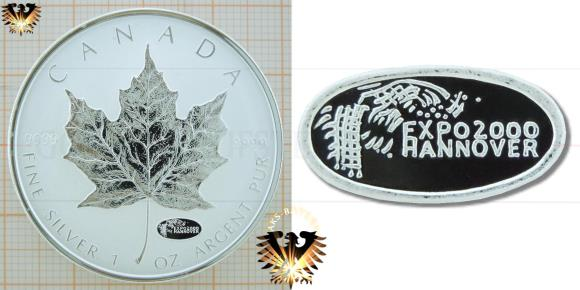 Kanadische 5 Dollar Silbermünze Maple Leaf mit Privy Mark zur Expo 2000 in Hannover.