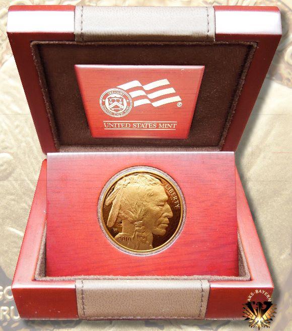 Amerikanische Feingoldmünze im Wert von 50 US Dollar. 1 Unze Gold, in der Originalen Verpackung. Emissionsdatum 2010.