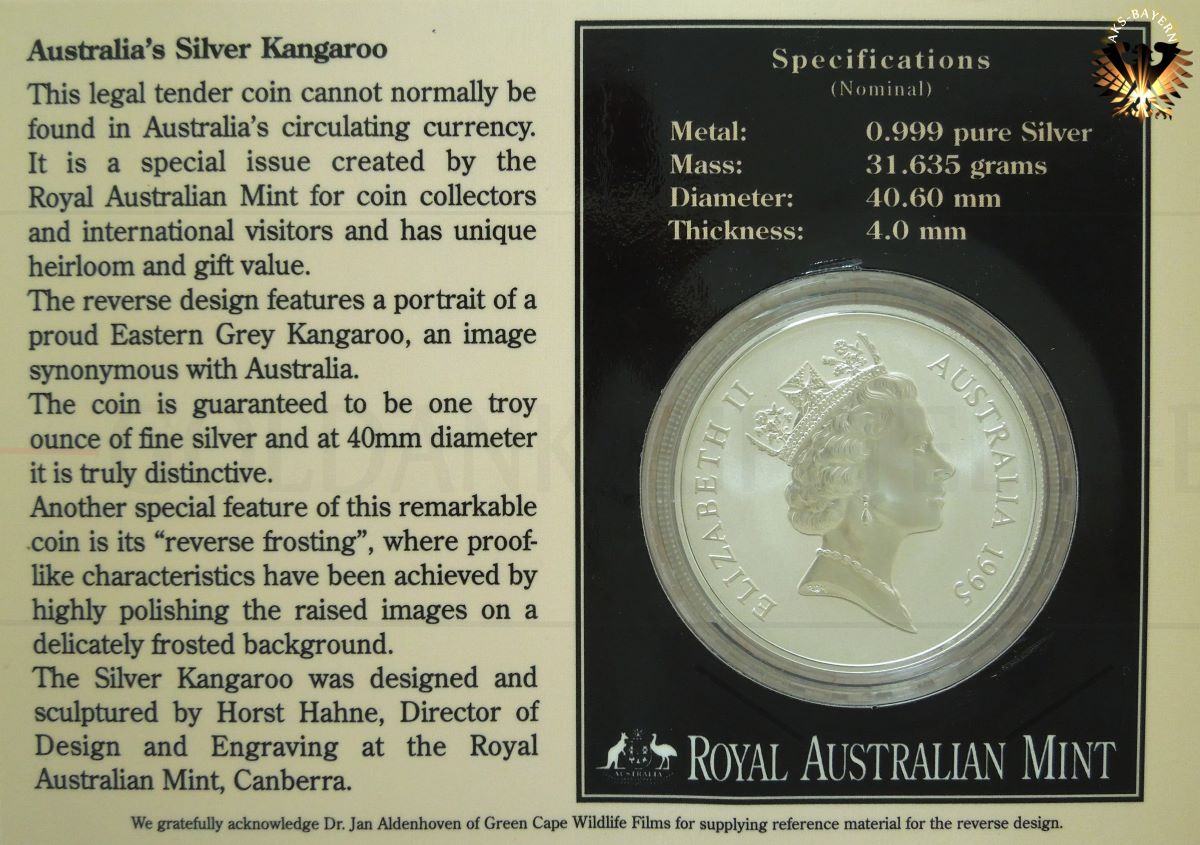 1 Dollar 1995 Australians Fine Silver Kangaroo 1 Ounce Blister