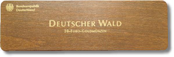 Kassetten- Oberseite der Goldmünzen 20 Euro, Deutscher Wald