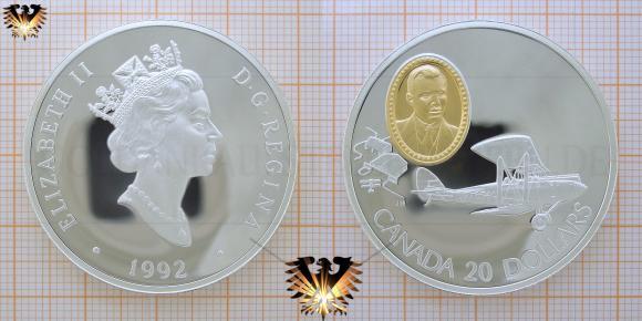 Canada, 1992, 20 Dollars, Silbermünze, Elizabeth II, Flugzeug, Gipsy Moth; © goldankaufstelle-bayern.de