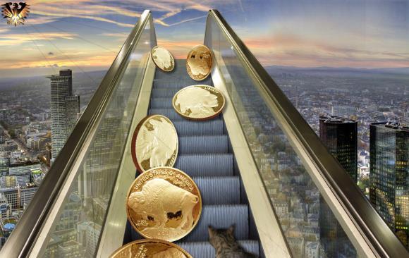 Amerikanische Anlage Goldmünze im Wert von 50 US Dollar, zu 1 Unze Gold, in der Original Verpackung.
