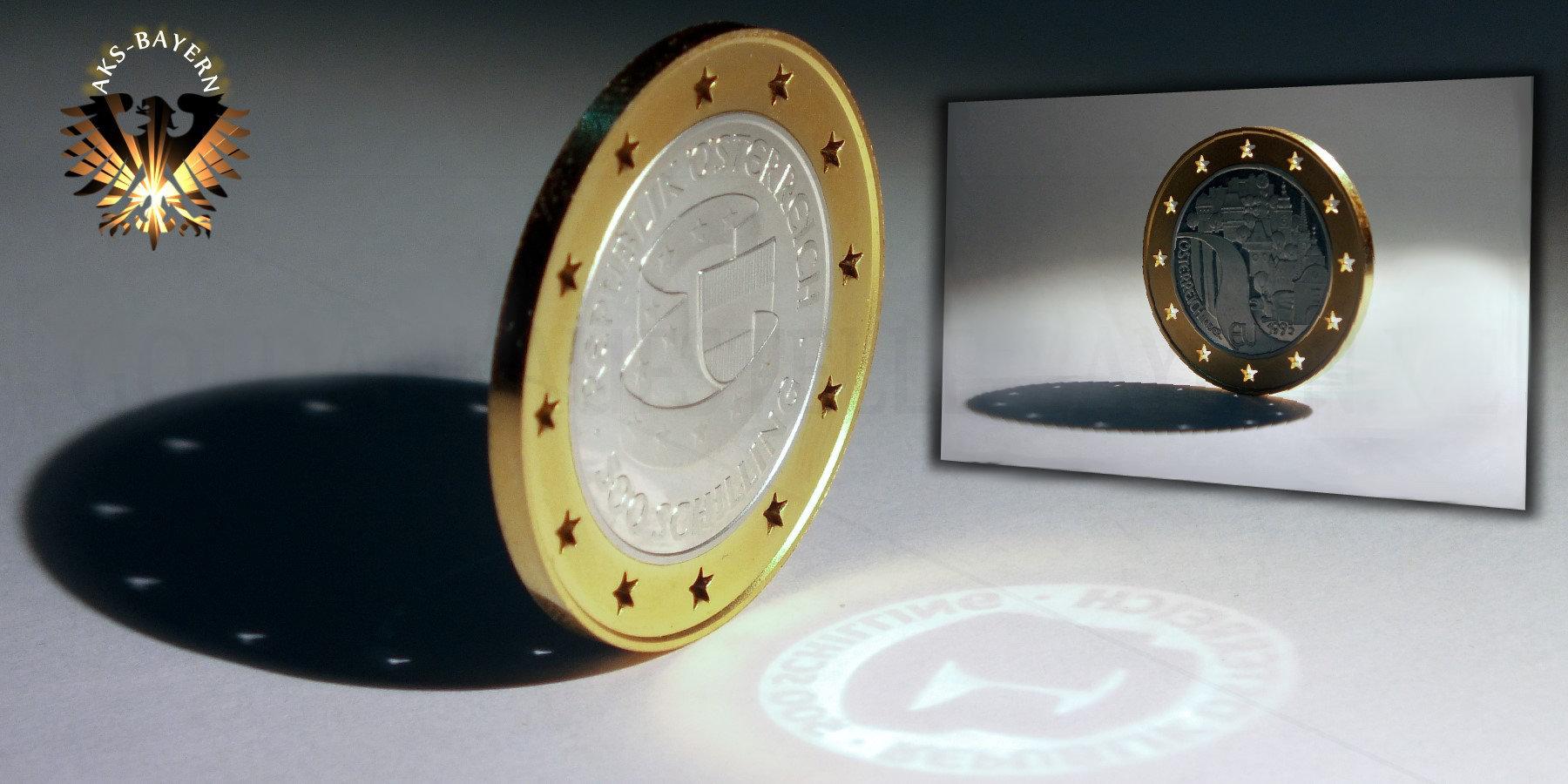 500 Schilling 1995 österreich In Der Eu Bimetallmünze Silber Gold