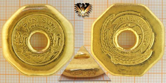 Sun Sun Jewellers, 37,73 g Feingold, Barrenmünze, Lochmünze, 1 Tael © goldankaufstelle-bayern.de