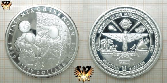 50 Dollars, First Men on the Moon, 1994, Silber-Gedenkmünze, Marshall Islands, Feinsilber, 1 OZ   © goldankaufstelle-bayern.de