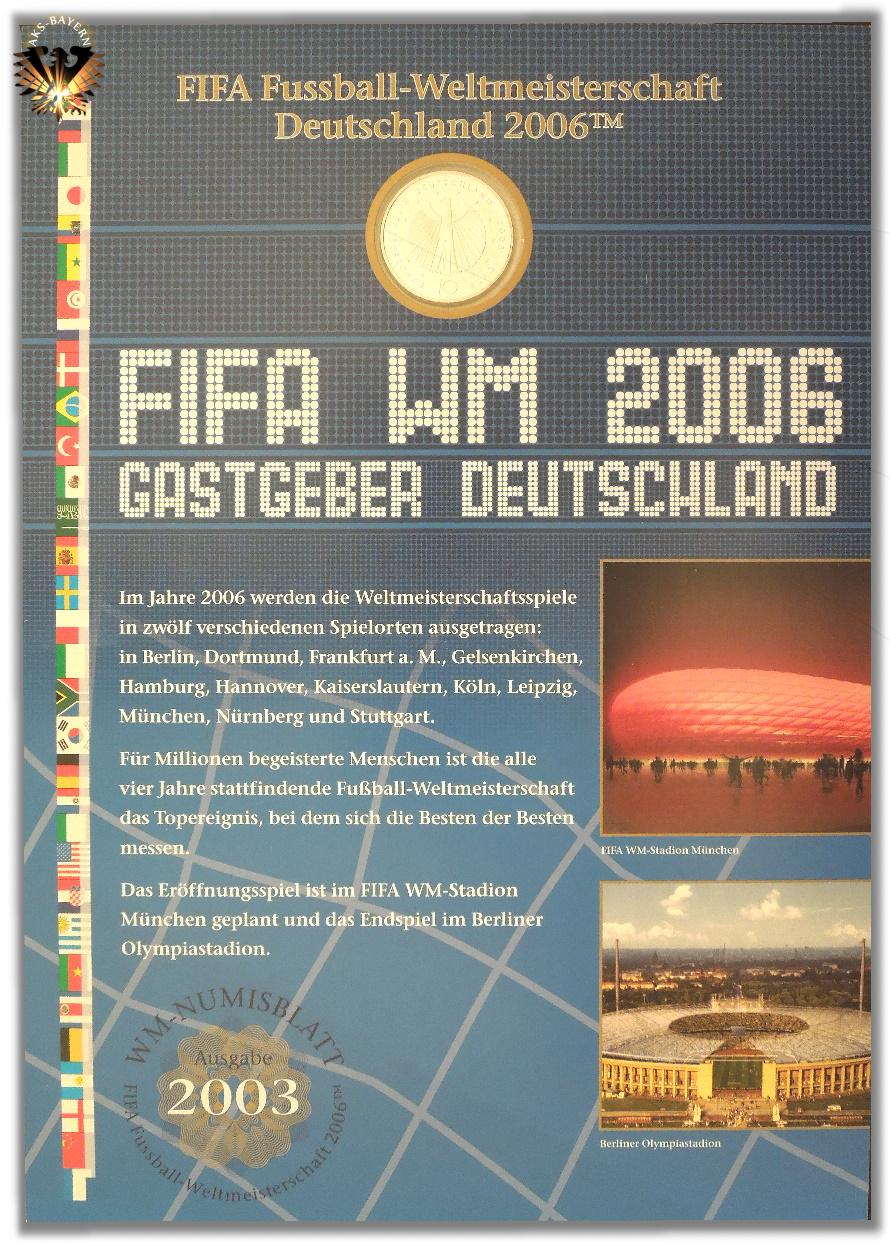 10 Brd 2003 Fifa Fußball Weltmeisterschaft Deutschland 2006