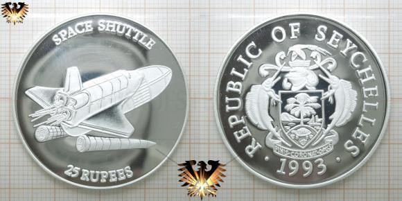 25 Rupees, Republic of Seychelles, 1993, Space Shuttle, Silbermünze   © goldankaufstelle-bayern.de