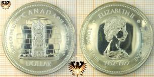 1 Dollar, Canada Dollar, 1977, Silver Jubilee Elizabeth II Jubilé Dárcent, 1952-1977