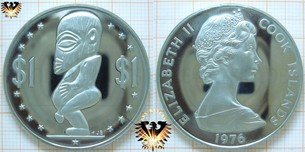 1 Dollar Cook Islands, 1976, Elizabeth II,  Vorschaubild