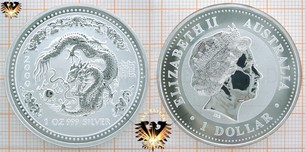 1 Dollar 2000, Australia, Year of the Dragon, 1 Unze Feinsilber