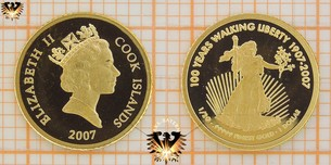 1 Dollar, Cook Islands, 2007, 100 Years Walking Liberty, Goldmünze