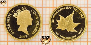 1 Dollar, Cook Islands, 2007, 25 Years Maple Leaf - Elizabeth II Goldmünze