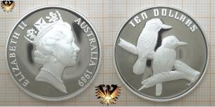 Vogel aus Australien, Ten Dollars Silber- Münze  Vorschaubild