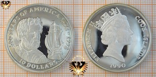 10 Dollars, 1990, Cook Islands, 500 Years  Vorschaubild