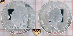 10 Dollars, 1990, Cook Islands, Endangered World Wildlife, Elefant