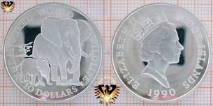 10 Dollars, 1990, Cook Islands, Endangered World  Vorschaubild