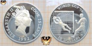 Tormann hält Ball, Fußballmünze, Silber, World Cup´94, Cook Islands, Queen