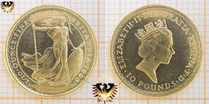 Britannia, 1/10 ounce finegold, 1996, England, 10 Pounds, UK