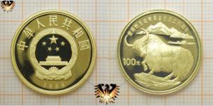 100 Yuan, 1986, China, wilder Yak, WWF, Gold, Tiermünze mit Zertifikat