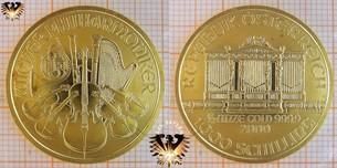1000 Schilling, Österreich, 2000, Wiener Philharmoniker, halbe Unze Goldschilling