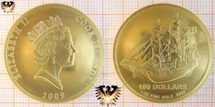 100 Dollars, Cook Islands, 2009, 1 ounce / Unze Goldmünze mit Segelschiff Motiv